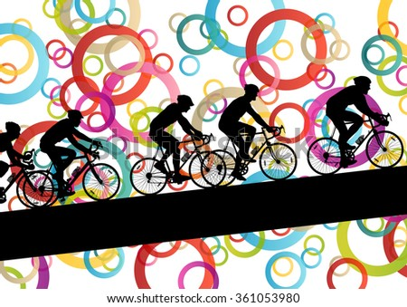 Active men cyclists bicycle riders in abstract sport landscape background illustration vector