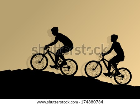 Active men cyclists bicycle riders in wild mountain nature landscape background illustration vector - stock vector