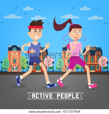 Active People. Man and Woman Runners. Man and Woman Running Through the City. Vector illustration - stock vector
