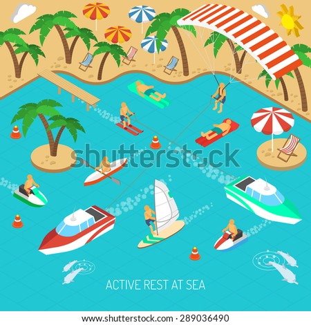 Active rest at sea and beach vacation with umbrellas and chaise lounges isometric concept vector illustration  - stock vector