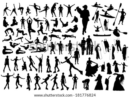 Active Silhouettes Set - stock vector