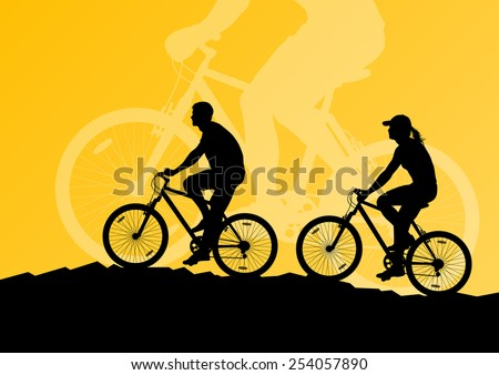 Active woman and man couple family cyclists bicycle riders in landscape background illustration vector - stock vector
