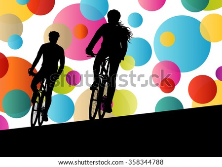 Active woman and man cyclists bicycle riders in abstract sport landscape background illustration vector - stock vector