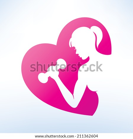 active woman doing fitness symbol, sport concept - stock vector