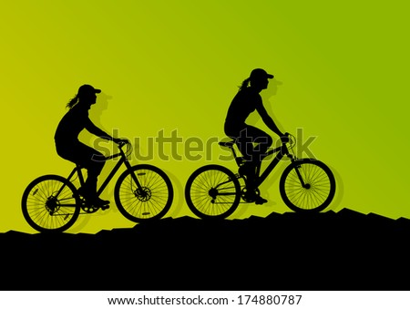 Active women cyclists bicycle riders in wild mountain nature landscape background illustration vector