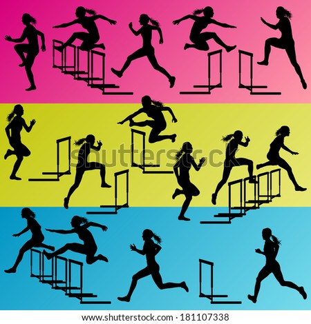 Active women girl sport athletics hurdles barrier running silhouettes illustration collection background vector - stock vector