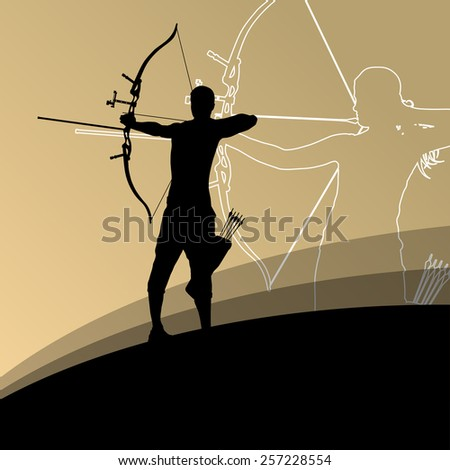 Active young archery sport man and woman silhouettes  - stock vector