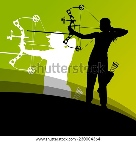 Active young archery sport man and woman silhouettes in abstract background illustration vector - stock vector