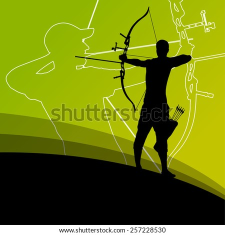 Active young archery sport men silhouettes