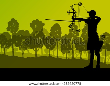 Active young archery sport men silhouettes in abstract background illustration vector nature landscape - stock vector