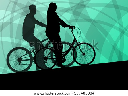 Active young family cyclists bicycle riders active sport silhouettes vector background illustration - stock vector