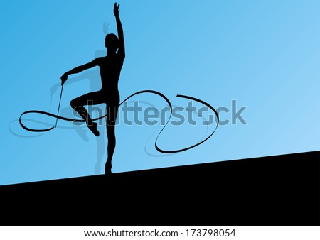 Active young girl calisthenics sport gymnast silhouette in acrobatics flying ribbon abstract background illustration vector - stock vector