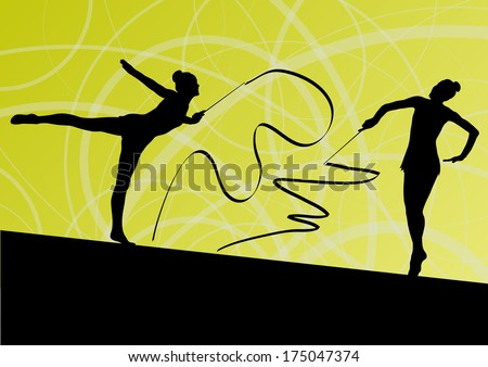 Active young girl calisthenics sport gymnasts silhouettes in acrobatics flying ribbon abstract background illustration vector