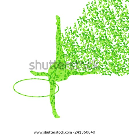 Active young girl gymnast silhouette in acrobatics spinning hoop abstract background illustration vector - stock vector