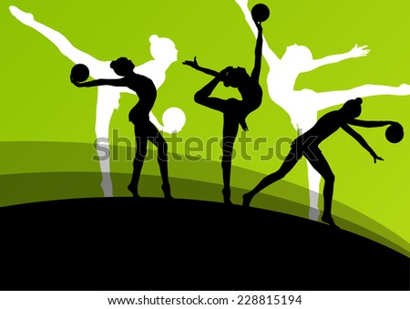Active young girl gymnasts silhouettes in acrobatics ball abstract background illustration vector - stock vector