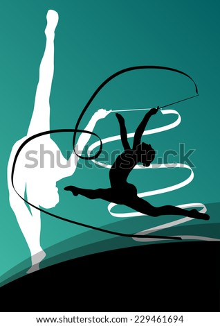Active young girl gymnasts silhouettes in acrobatics flying ribbon abstract background illustration vector - stock vector