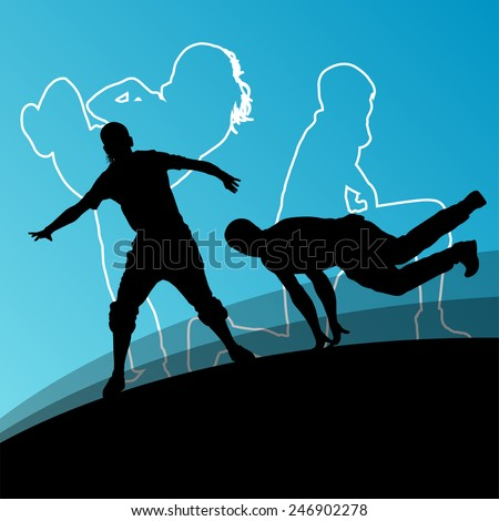 Active young man and woman dancers silhouettes in abstract line background illustration vector - stock vector
