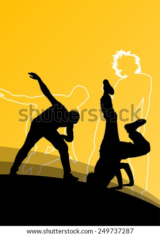 Active young man and woman dancers silhouettes in abstract line background illustration vector