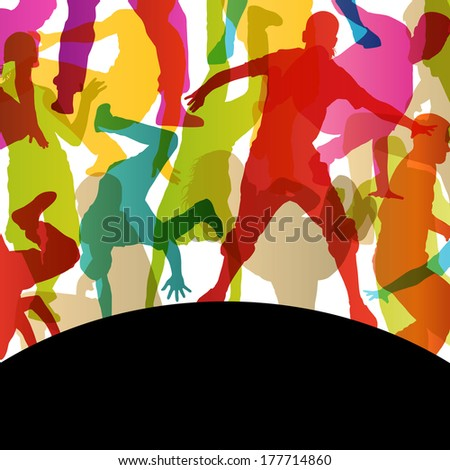 Active young men and women street break dancers silhouettes in abstract background illustration vector - stock vector