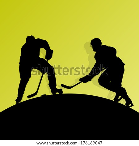 Active young men ice hockey sport silhouettes skating in winter sports abstract background illustration vector