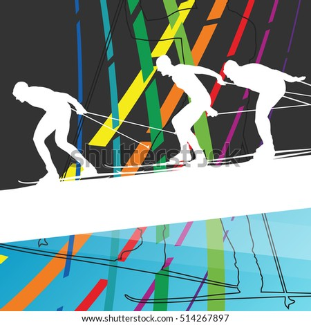 Active young men skiing sport silhouettes in winter abstract line background outdoor  illustration vector