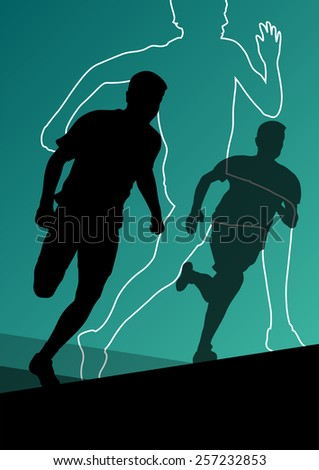 Active young men sport athletics hurdles barrier running silhouettes illustration