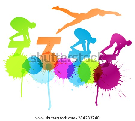 Active young swimmers diving and swimming in water sport abstract pool silhouettes vector background illustration concept with splashes - stock vector