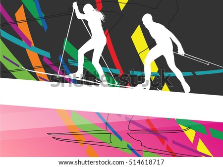 Active young woman and man skiing sport silhouettes in winter abstract line background outdoor illustration vector