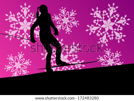 Active young woman girl skiing sport silhouette in winter ice and snowflake abstract background illustration vector