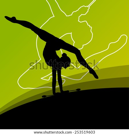 Active young women calisthenics sport gymnasts silhouettes with clubs in acrobatics abstract background illustration vector