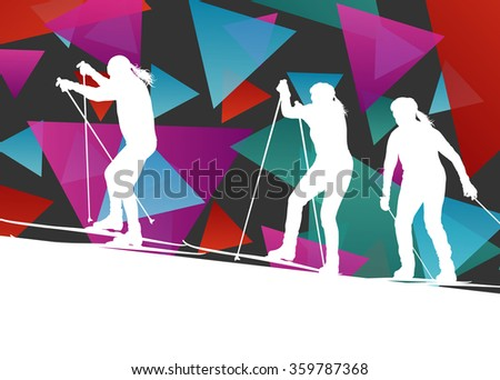 Active young women girl skiing sport silhouettes in winter ice abstract background illustration vector