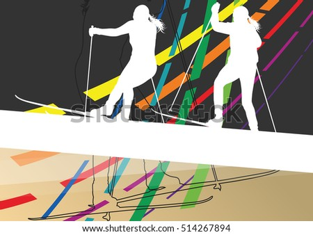Active young women skiing sport silhouettes in winter abstract line background outdoor  illustration vector