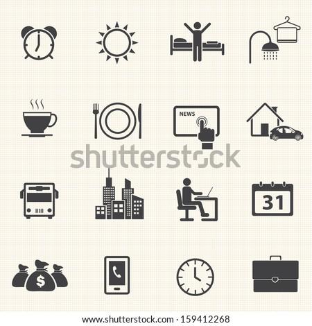 Activity Routine icons set - stock vector