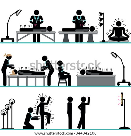 Acupuncture professional treatment - stock vector