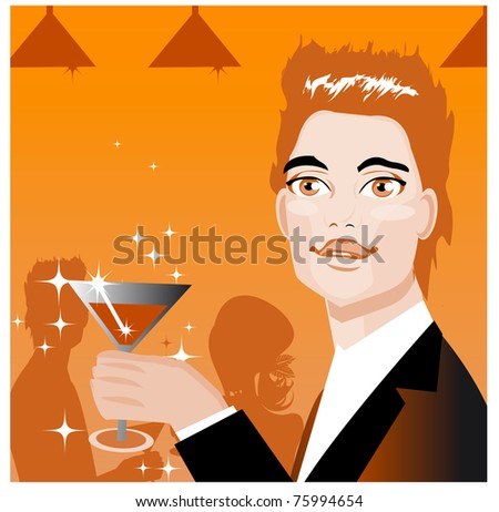 Ad Art Banner Man drink in bar and love couple silhouette background - stock vector