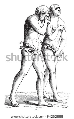 Adam and Eve by Masaccio / vintage illustration from Meyers Konversations-Lexikon 1897 - stock vector