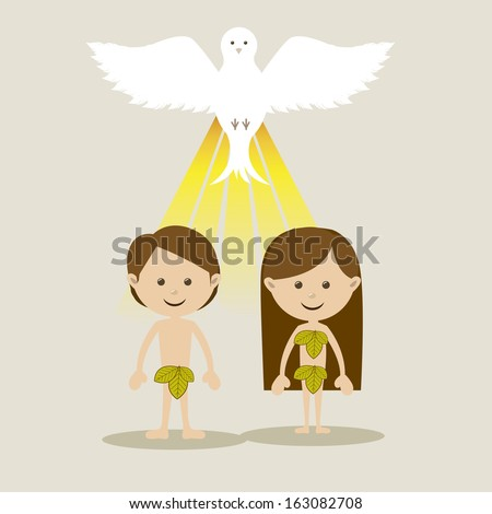 adam and eve over white background vector illustration  - stock vector