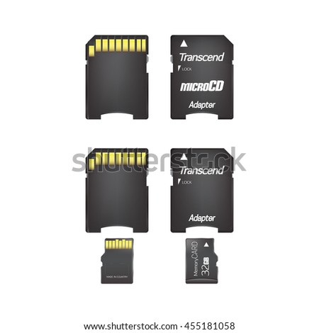 Adapter and Memory card isolated on white background. Vector illustration.