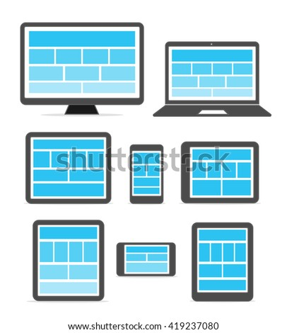 Adaptive design layouts. Web site page templates collection on different devices - stock vector