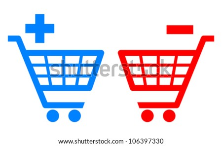 Add and remove shopping carts, vector illustration - stock vector