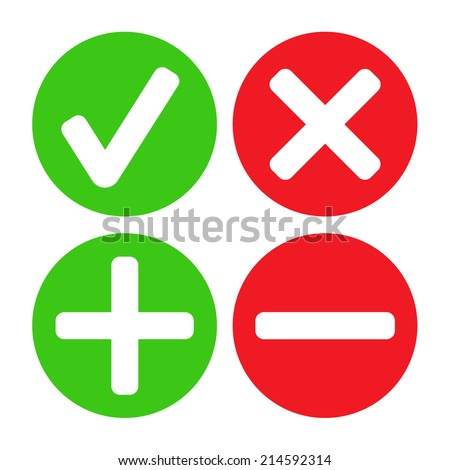Add, delete, cross & check mark icons - can be used as website, application & social media interface buttons - stock vector