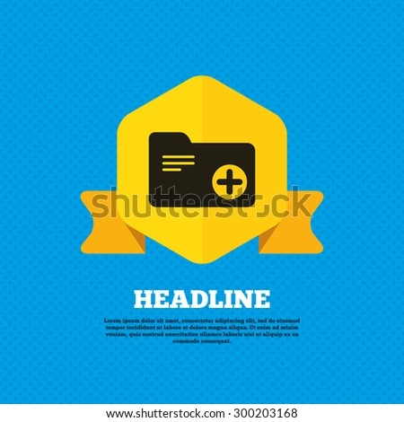 Add document folder sign. Accounting binder symbol. Bookkeeping management. Yellow label tag. Circles seamless pattern on back. Vector - stock vector