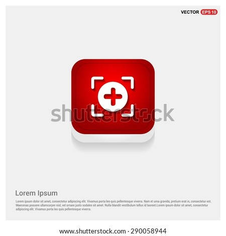 Add Plus Icon - abstract logo type icon - Red abstract 3d button with light board and shadow on gray background. Vector illustration
