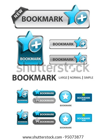 add to bookmark button, collection of favorite icons and buttons - stock vector