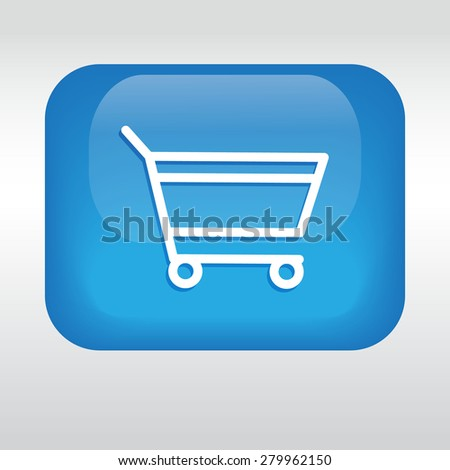 add to cart, blue icon. - stock vector