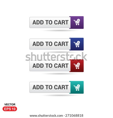 Add to Cart Button. Abstract beautiful text button with icon. Purple Button, Blue Button, Red Button, Green Button, Turquoise button. Gray Button. web design element. Call to action icon button - stock vector
