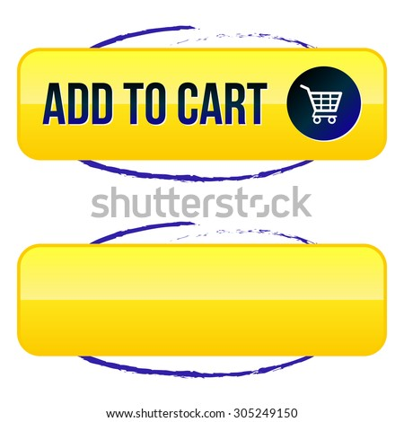 Add to Cart Button with Shopping Cart and Blue Circle - stock vector