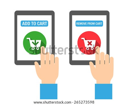 Add to cart buttons for web, print, or for mobile apps. Flat design style. - stock vector