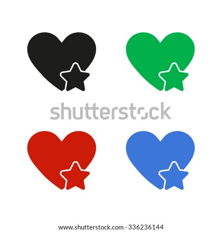 Add to favorites - Heart with Star - color vector icon - stock vector