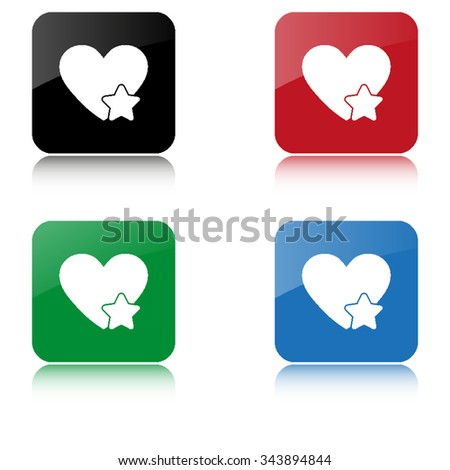 Add to favorites - Heart with Star  - color vector icon  with shadow - stock vector